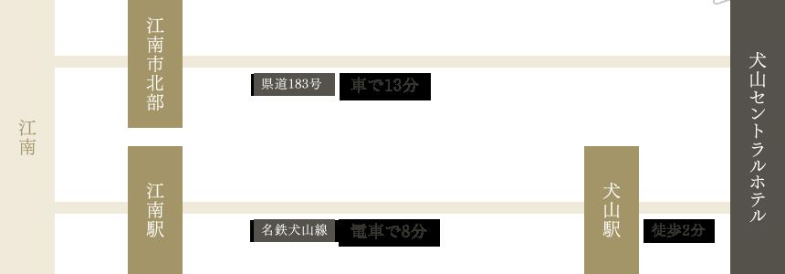 江南からのアクセス